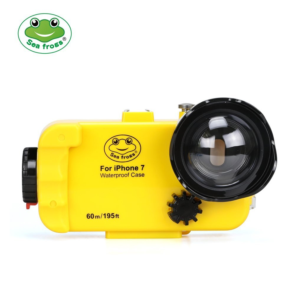 195FT/60M Underwater Housing Case for iPhone 7 (4.7) 7 Plus (5.5) With Wide Angle Dome Port Lens in Yellow Color 195FT/60M Underwater Housing Case for iPhone 7 (4.7) 7 Plus (5.5) With Wide Angle Dome Port Lens in Yellow Color
