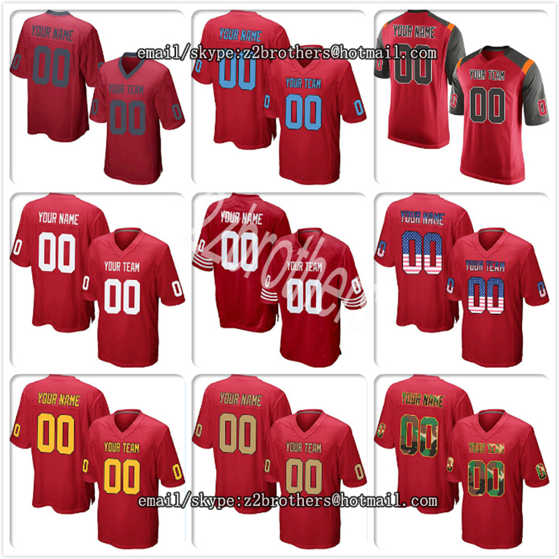 Custom Red Mesh Replica Football Jersey Embroidered Team Logo Name Number Your Own Diy Oem College For Men Women Child Youth America Football