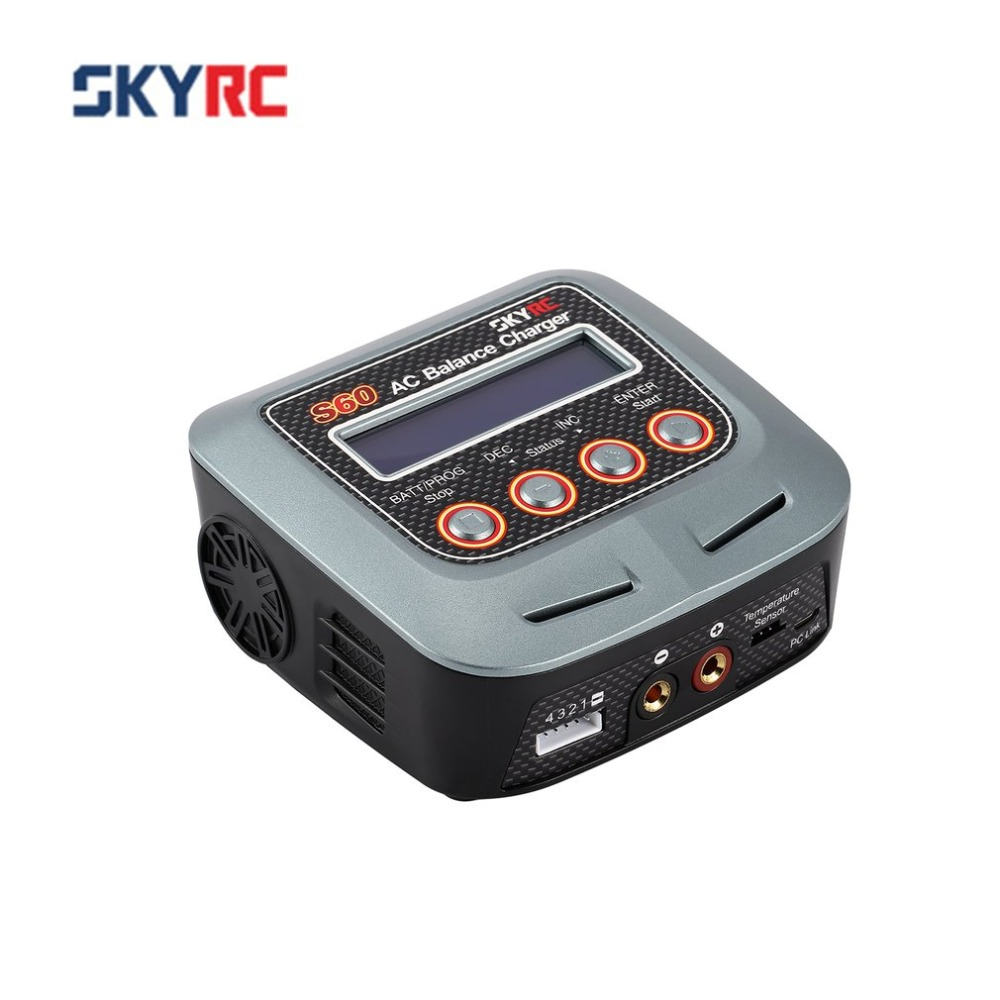 SKYRC S60 60W 100 240V AC Balance Charger/Discharger for 2 4S Lithium LiPo LiHV LiFe Lilon NiCd NiMh PB RC Drone Car Battery