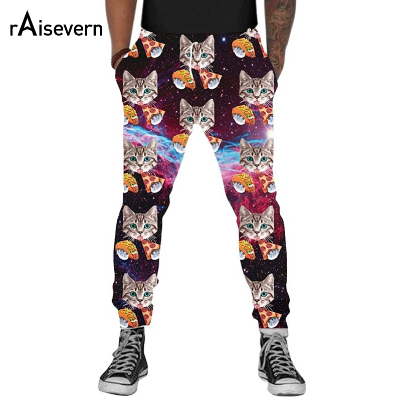 Raisevern Fashion Joggers 2018 Brand 3D Trousers Pizza Cat Funny Printed Men Women Unisex Casual Sweatpants Trousers Dropship ...