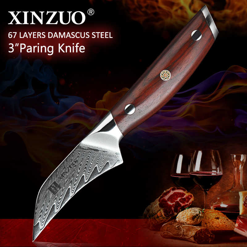"XINZUO 3.5"" PRO Fruit Knife Damascus Steel Kitchen Knives Tools Japanese VG10 Core Razor Sharp Blade with Rosewood Handle"