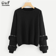 Dotfashion Black Pearl Beading Faux Fur Detail Jumper Women Casual Plain Autumn Round Neck Long Sleeve Ladies Pullovers Sweater(China)