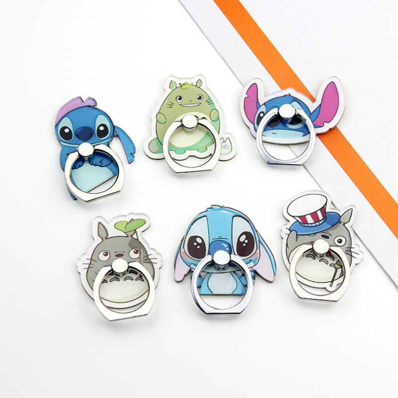 1 Pcs Creative Lilo Stitch Totoro Crystal Figure 360 Degree Metal Finger Ring for phone Mobile Phone Support Toys