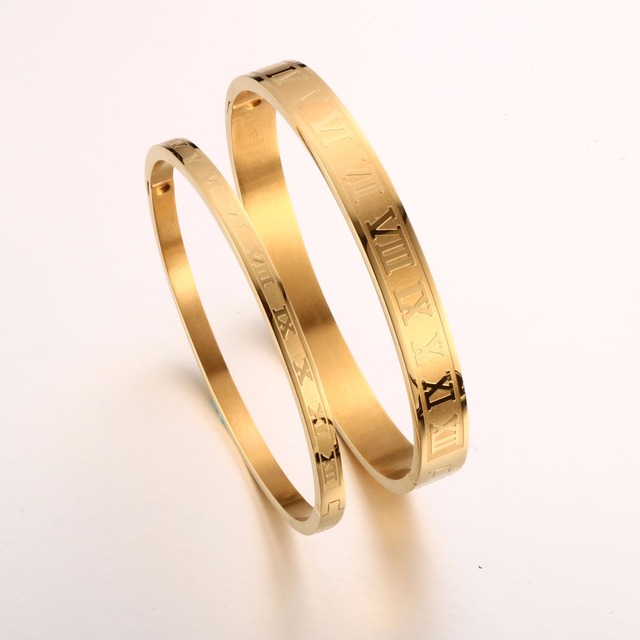 Trendy Noman Number Couple 8mm/4mm Bracelet Bangle for Woman Rose Gold Plating Luxury Brand Wedding Party Jewellery Gift