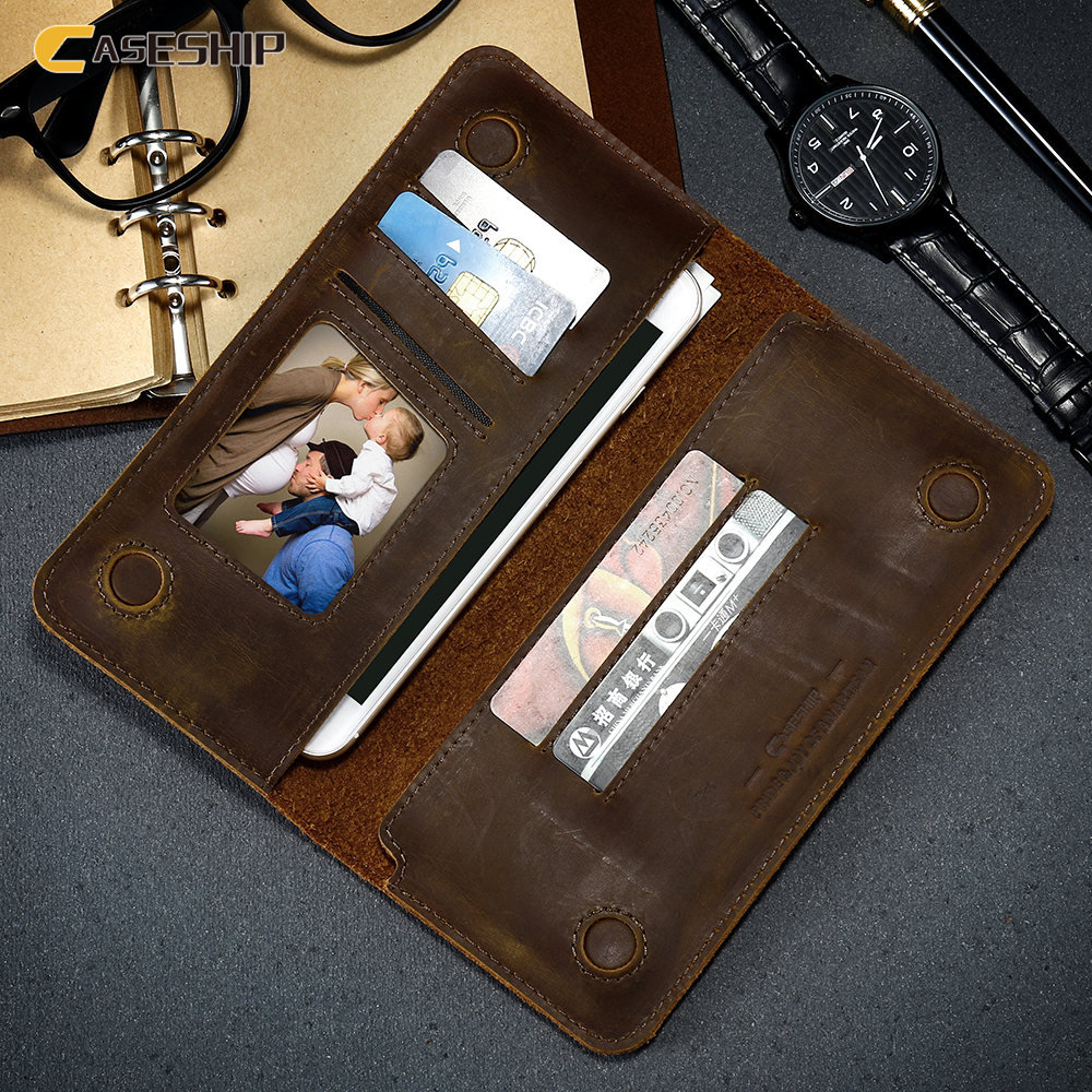 imágenes para CASESHIP Funda de piel para iPhone 6 6 s 7 Plus Teléfono Bolsa Retro Genuino Bolsa de cuero para Samsung Caja Del Teléfono S8 s8 Más J5 J7 A5 A7