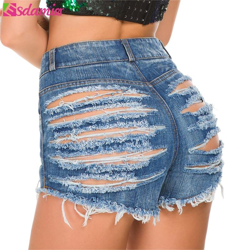 ESDAMIER 2018 Summer Women Denim   Shorts   Sexy Butt Ripped Jeans   Shorts   High-Waist Sexy Night Club European   Shorts   3 Colors