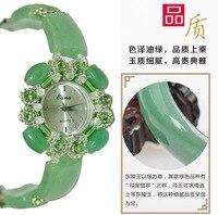 Jade Crystal Quartz Ladies Watch Brand Jade Bracelet Watch Ladies Golden Simple Leisure Band Quartz Clock