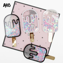 AHB 43mm*90mm Sequin Filling Acrylic Accessories Liquid Quicksand Cover For Phone DIY Ice Cream Patch Cases