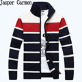 free shipping 2017 Men's new atumun striped cardigan sweater  male youth plus white,red,yellow&gray M~XXXL 78