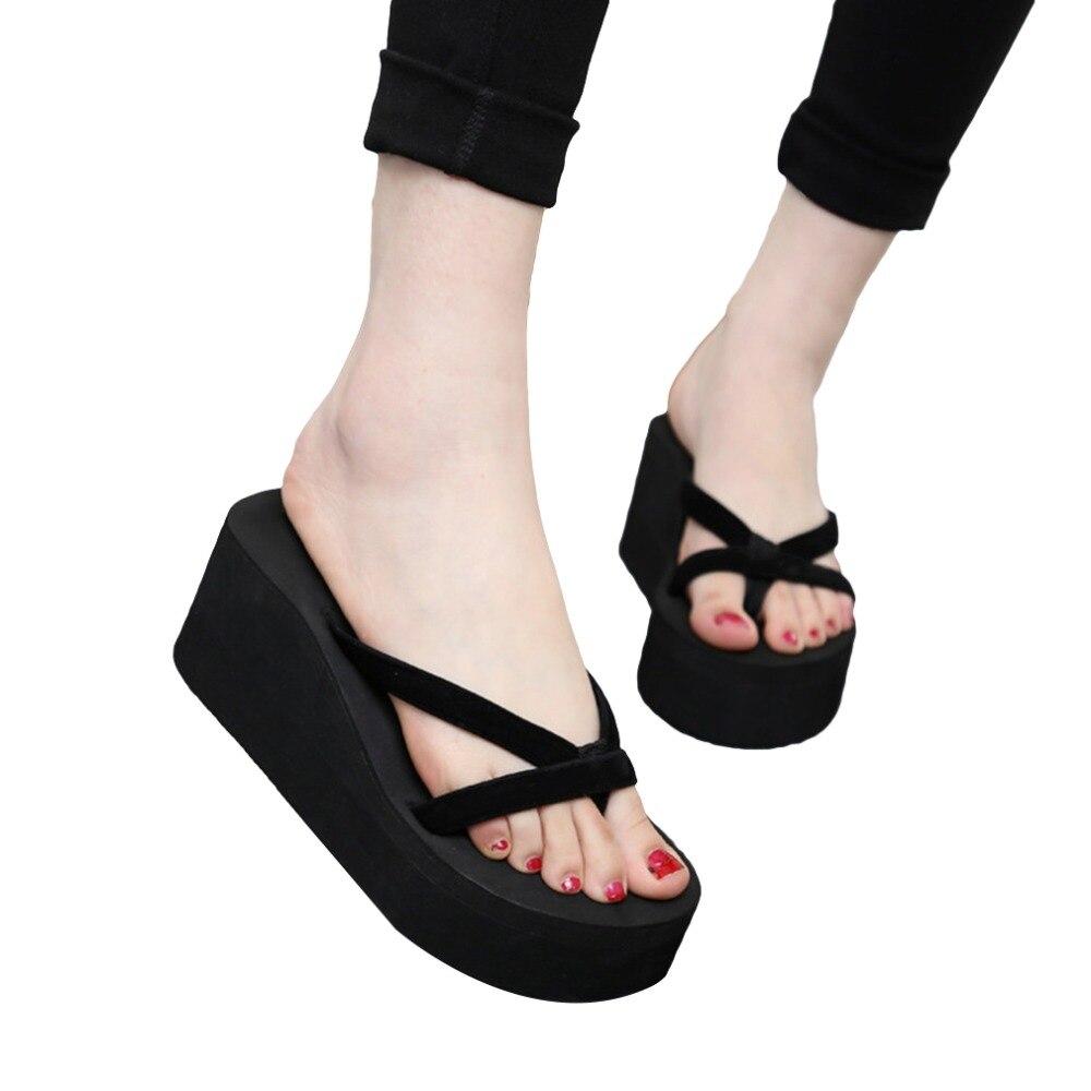 Platform Slippers Flip-Flops Wedges Shoes Female Summer Sandals Thick Fashion Women Muffin