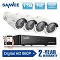 4ch nvr 960 p hd de 1.3mp poe ip sannce rede cctv Câmeras de Segurança do Sistema de segurança 4 pcs IR Ao Ar Livre de vigilância de vídeo Em Casa Kits