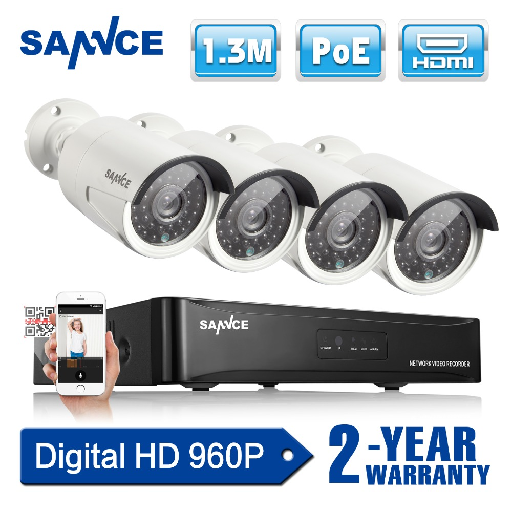 SANNCE 4CH NVR 960P HD 1.3MP PoE IP Network CCTV Security System 4pcs Security Cameras IR Outdoor Home video surveillance Kits 4pcs 960p hd cameras