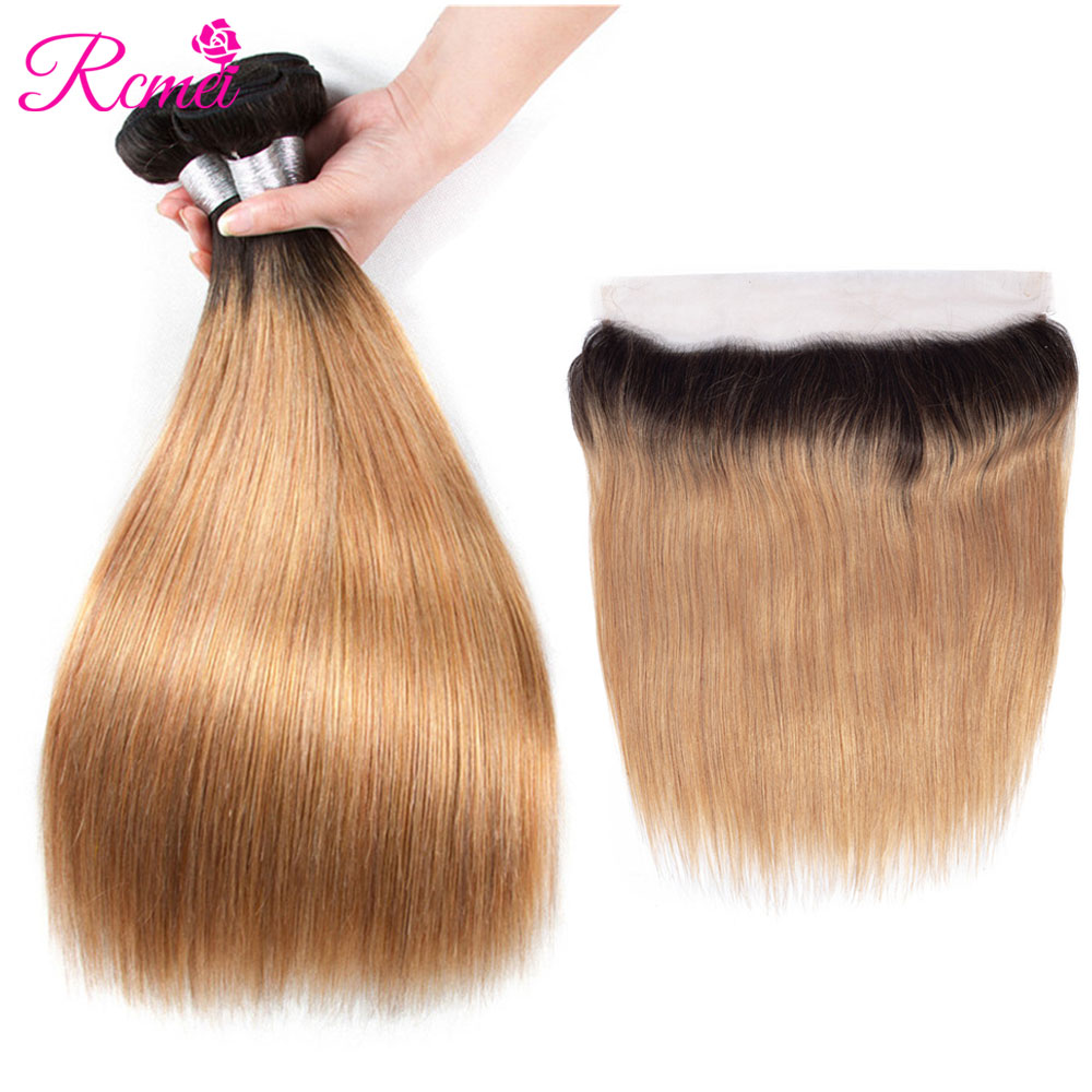 Rcmei Ombre Honey Blonde Brown Wine Red Hair Weave Brazilian Straight Bundles With Frontal Two Tone