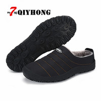 QIYHONG Big Size 36 46 Men Shoes 2018 Top Fashion New Winter Casual Ankle Boots Warm