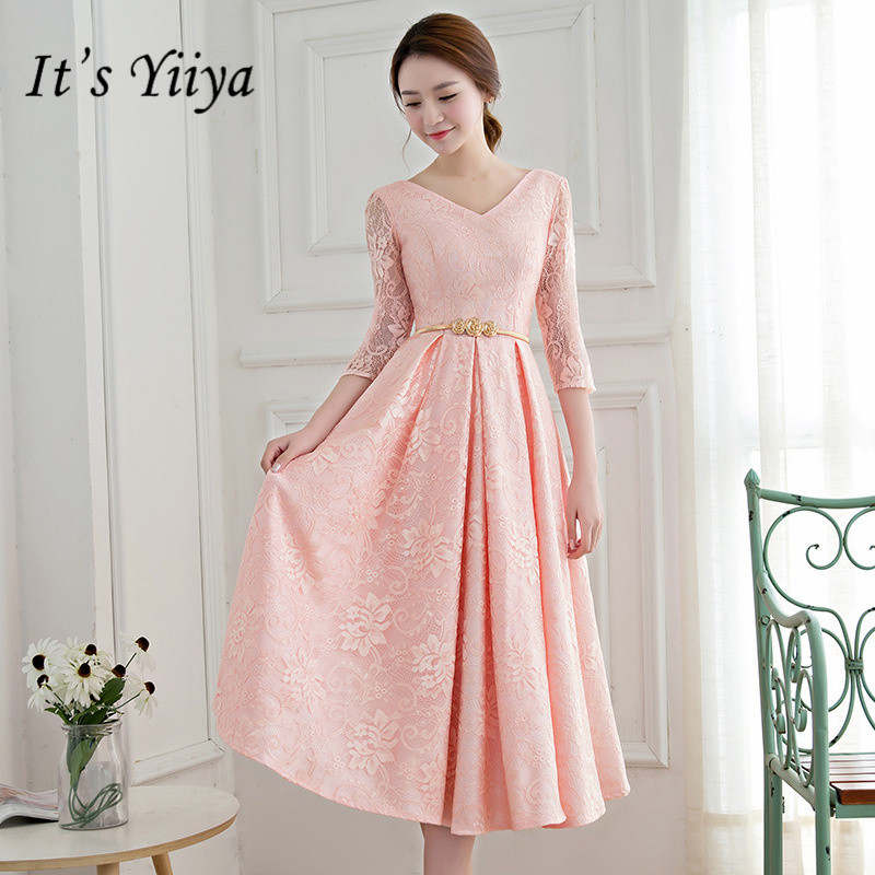 It's YiiYa Simple Half Sleeve Pink Bridesmaid Dresses Elegant V-neck Slim A-line Knee-length Frocks H189