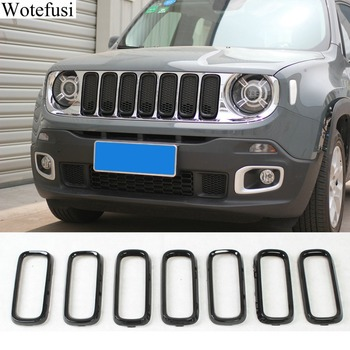 Wotefusi 7Pcs Car Black Front Grille Inserts Cover Trim For 2016 2017 Jeep Renegade[QPA498]