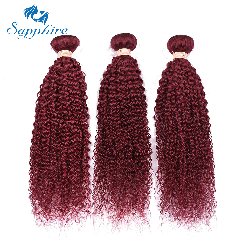 Sapphire Kinky Curly Malaysian Human Hair Bundles Pre-Colored Burg Color 100% Human Hair ...