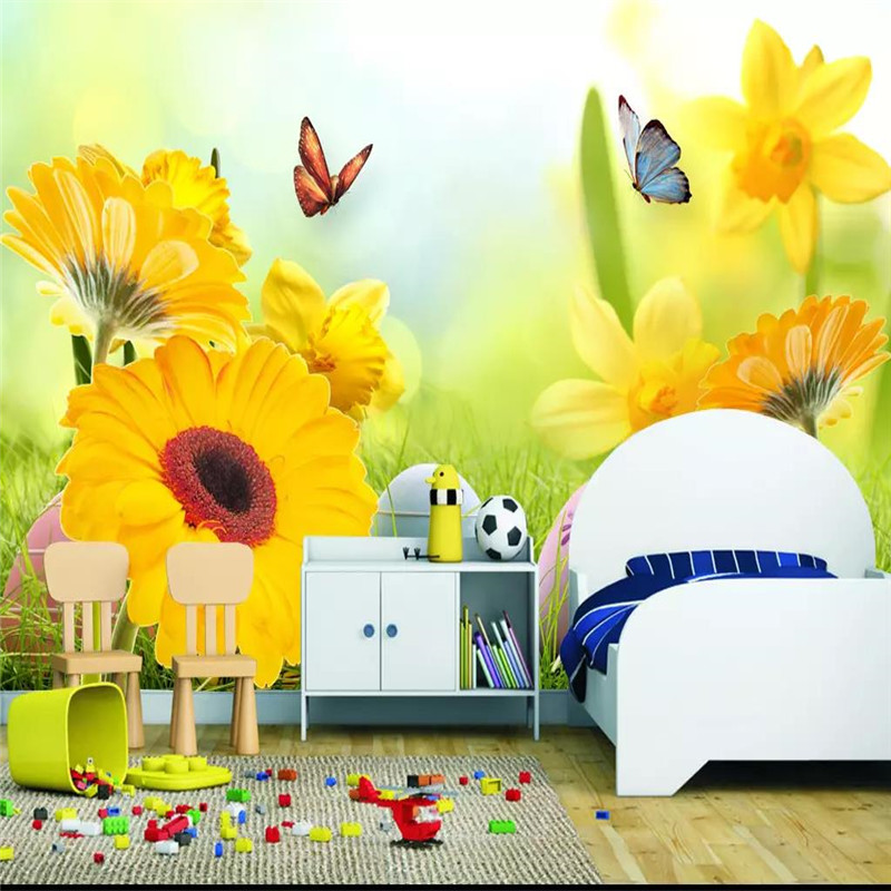 Custom 3D murals Sun flower butterfly fashion TV background wall decoration painting wallpaper mural photo