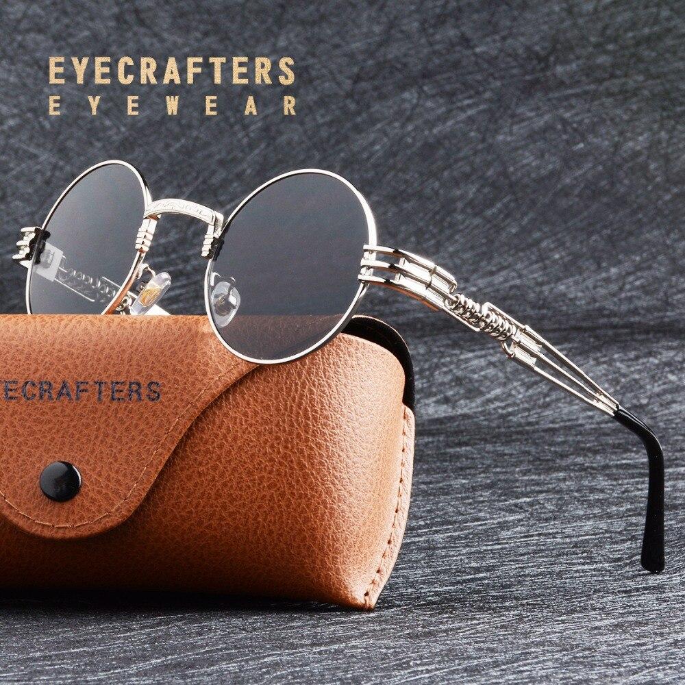 Or En Métal De Mode John Lennon lunettes de Soleil Rondes Steampunk lunettes de Soleil Des Femmes Des Hommes Rétro Vintage Revêtement Miroir Lunettes Nuances
