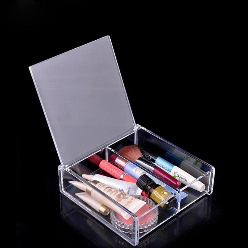 Acheter Transparent Carré Maison Armoires De Rangement de Bijoux Cosmétiques Boîte Organization Maquillage Outil Taille 14.5x14.5x4.5 cm Haute Qualité de box nail fiable fournisseurs