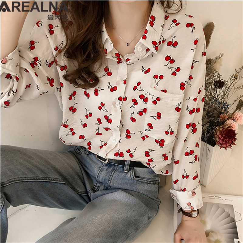 Kimono Cardigan Long Sleeve Cherry Printed Women's Tops and   Blouses   Autumn Casual Work V-neck Loose   Blouse     Shirt   Plus Size Blusa