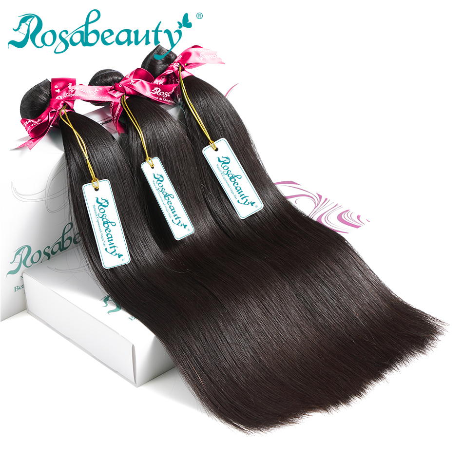 3 Pieces lots Straight Brazilian Virgin Hair Bundles Rosa Beauty 100 Human Hair Weaving Nature Color