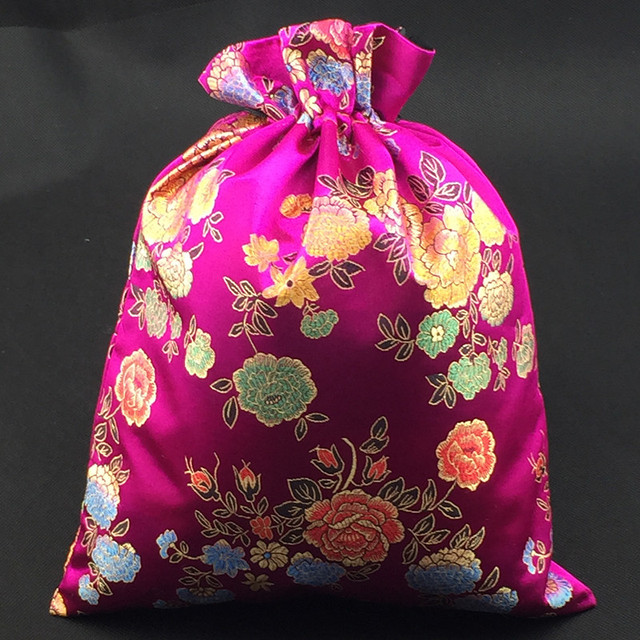extra large gift drawstring bags chinese silk brocade dried flowers