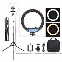 Fosoto RL-12II 14 pouces 3200 K-5500 K Dimmable 240 Led anneau lampe photographie anneau lumière trépied support pour appareil Photo Studio téléphone