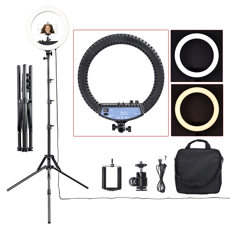 fosoto RL-12II 3200K-5500K Dimmable Photography Studio Led Ring Light Lamp Tripod Stand For Camera Photo Studio Phone Video 1pc 150w 220v 5500k e27 photo studio bulb video light photography daylight lamp for digital camera photography