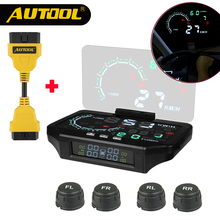 hot deal buy autool car obd2 hud tpms head up display auto obd speedometer tyre sensor headup meter cars electronics obdii extend connector