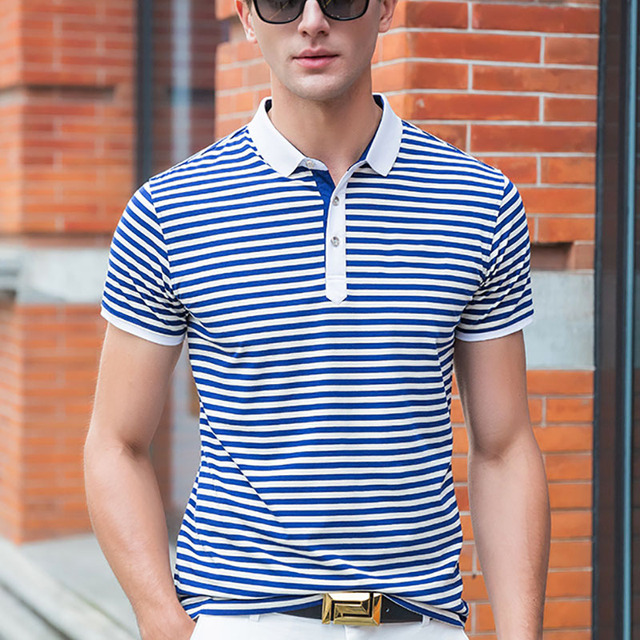 2017 Classic Striped Polo Shirt Brand Men's Cotton Poloshirt Breathable Casual Polo Hommes Polos Top Shirts