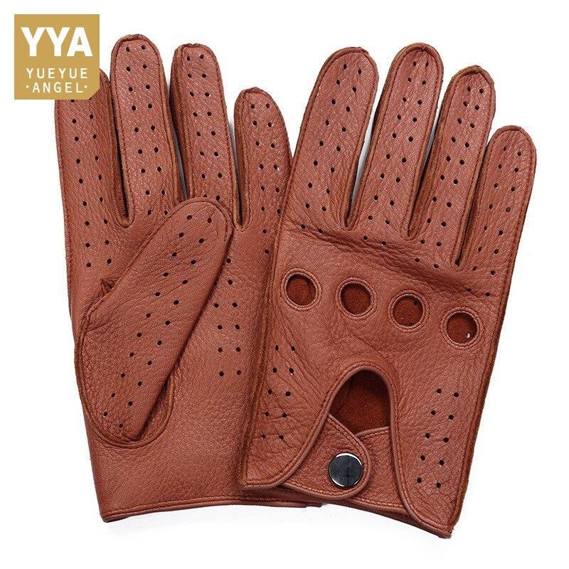 Brand High Quality Men's 2019 New Deerskin Gloves Four Seasons Fashion Vintage Driving Genuine Leather Moto Riding Gloves Men
