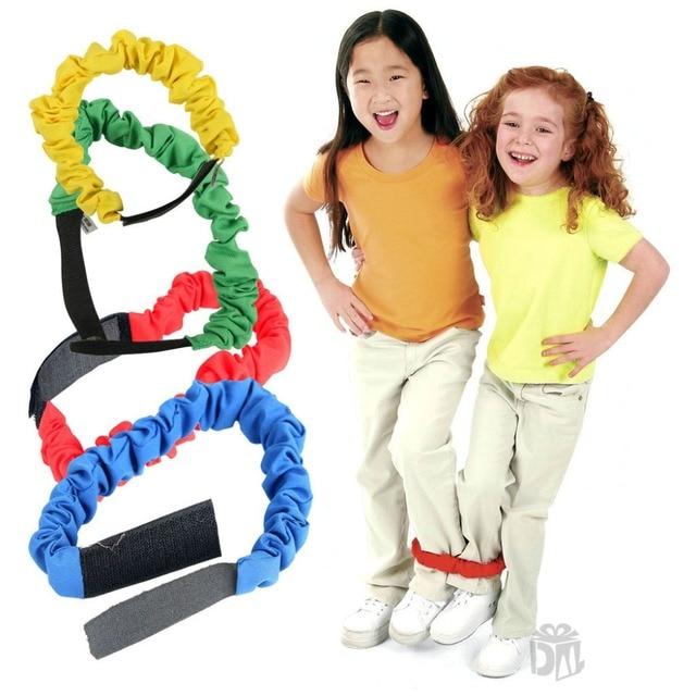 4pcs/set Rubber Bands Sport Toys Kindergarden Kids Outdoor Games 3 Kids 2 Feet Running Teamwork Interactive Game Elastic 40~75cm