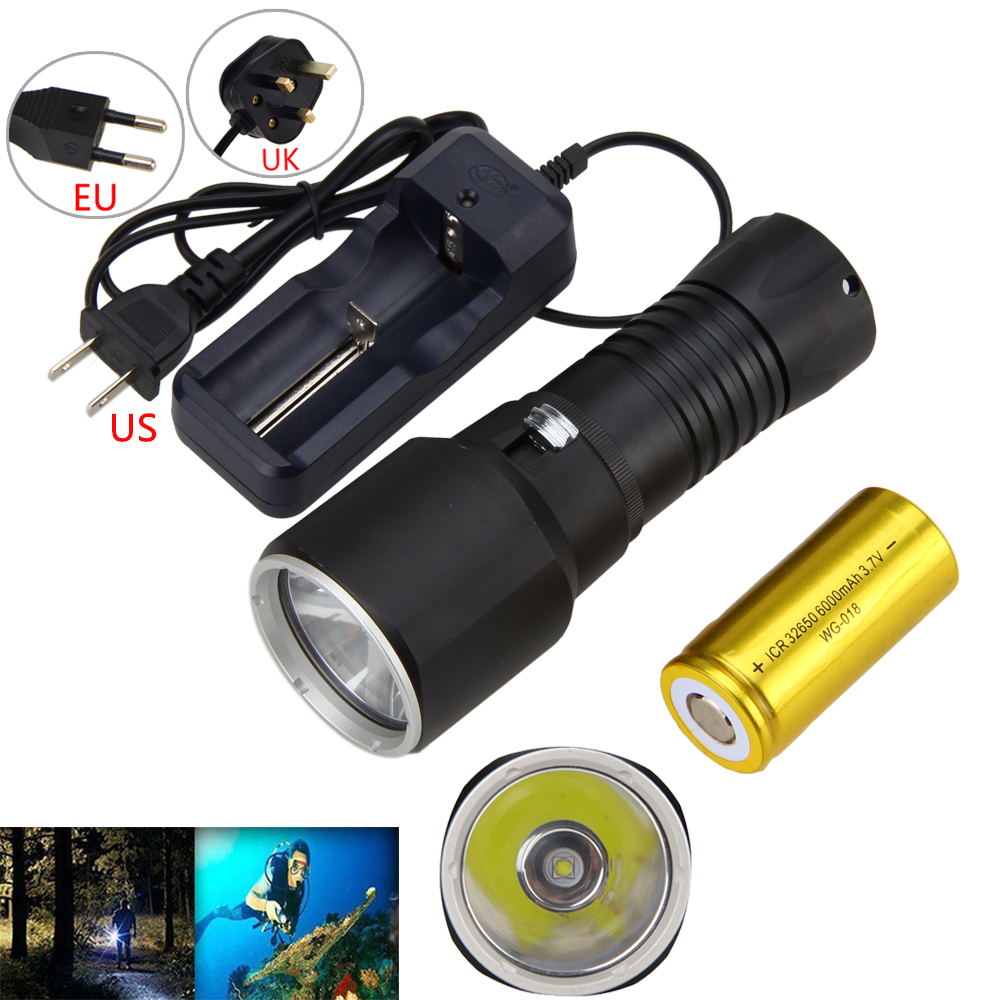Real 6000LM XML L2 Tactical LED Diving Flashlight Lamp Torch Underwater 100M With 32650 Battery And Charger 6000lumens bike bicycle light cree xml t6 led flashlight torch mount holder warning rear flash light