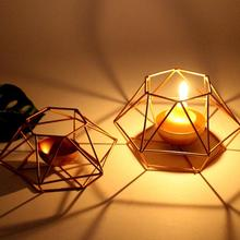 Nordic Geometric Iron Candlestick Tealight Candle Holder Home Wedding Decor Fashion