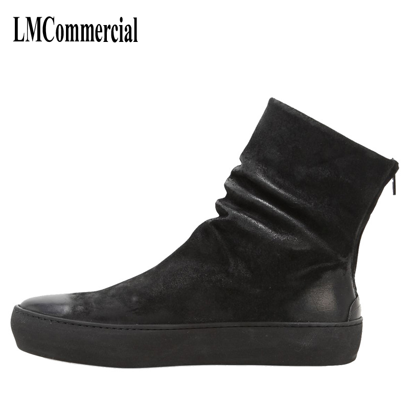 The new winter men leather boots for men and Martin England zipper tooling boots British retro men shoes breathable casual shoes martin boots men s high boots korean shoes autumn winter british retro men shoes front zipper leather shoes breathable