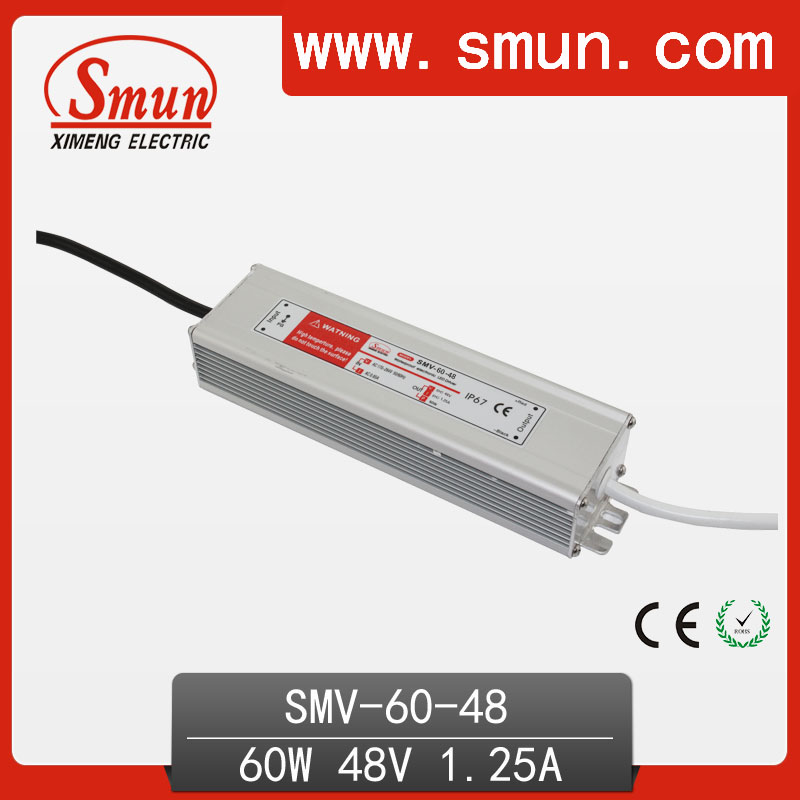 60W 48V 1.25A Waterproof IP67 LED Driver Switching Power Supply for Led Strip Light with CE ROHS 1 Year Warranty SMV-60-48 ac 85v 265v to 20 38v 600ma power supply driver adapter for led light lamp