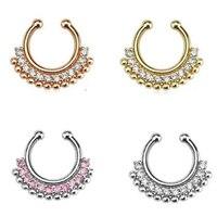 1pcs Indian Fashion Crystal Rose Gold Fake Septum Ring Silver Fake Nose Ring Piercing For Women