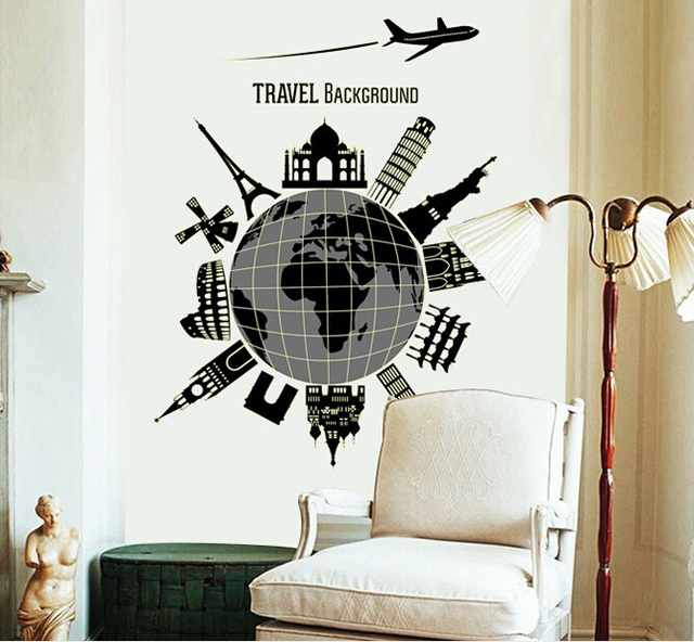 New Luminous World Map Travel Modern Wall Decal Stickers Living Room Bedroom Decor  sc 1 st  AliExpress.com & New Luminous World Map Travel Modern Wall Decal Stickers Living Room ...