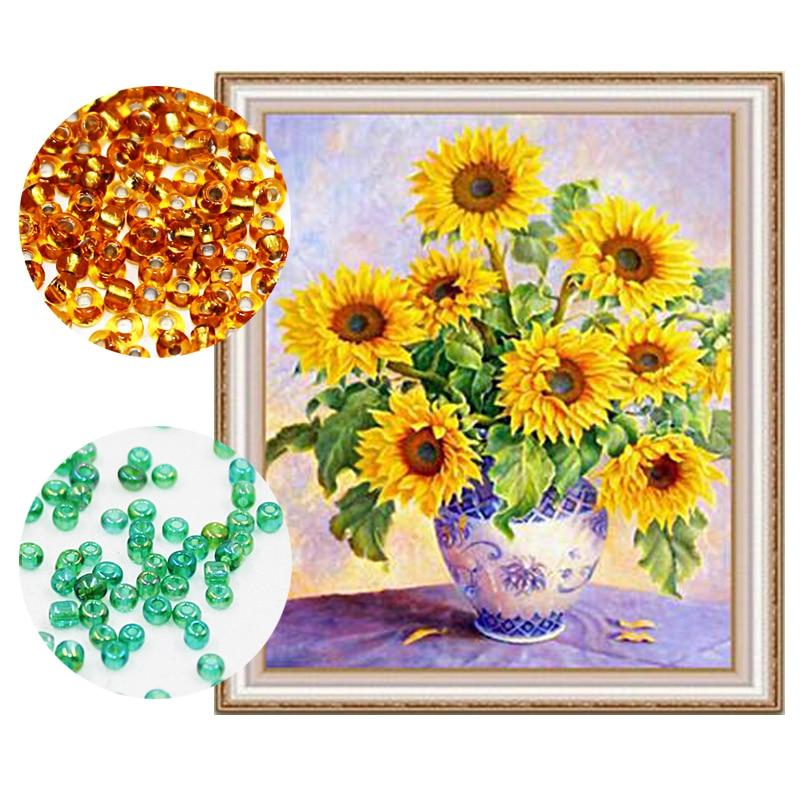 Needlework, FAI DA TE perline punto Croce, Ricamo a punto, diamante, Precisa Stampato pittura, motivo ornamentale, di semi di girasole 815