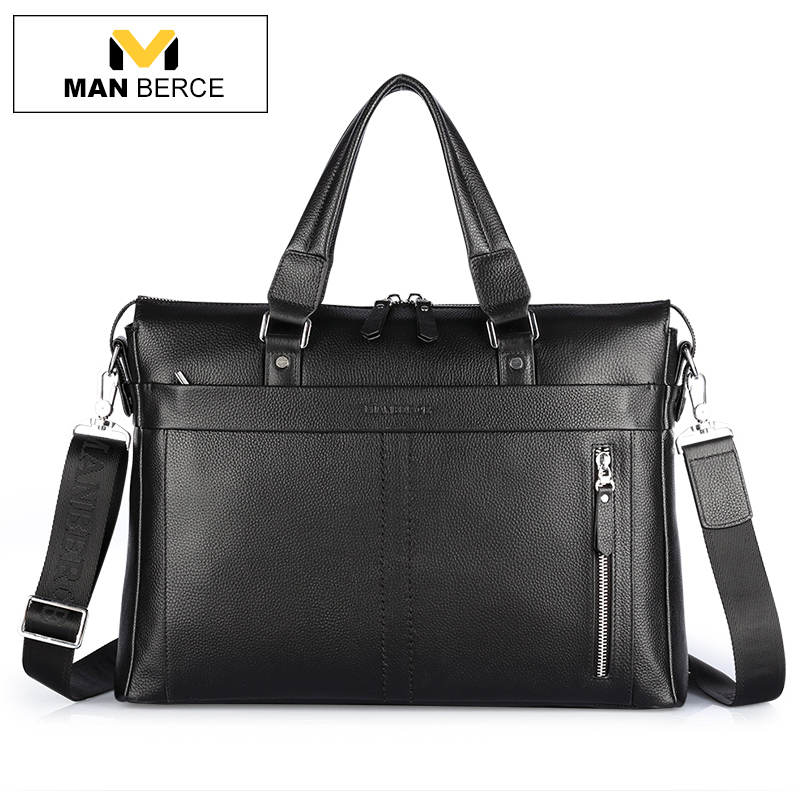 MANBERCE Handbag Men Shoulder Bags Genuine Leather Brand Briefcases Business Travel Tote Bag Men's Messenger Bag Free Shipping