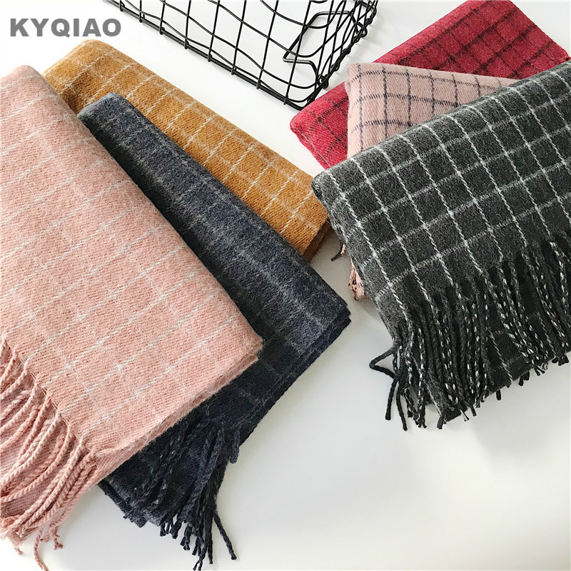 KYQIAO Women winter plaid   scarf   female autumn Spain style fashion elegant long pink grey yellow red plaid   scarf     wrap