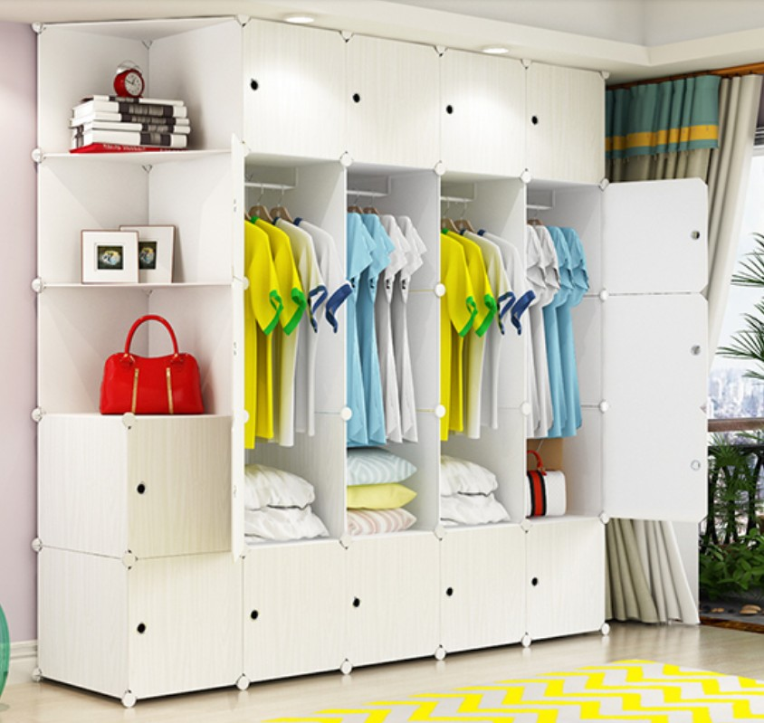 Storage Furniture Clothes Wardrobes Metal Resin Cloth Closet Coat cabinet organizer White Wood pattern Bedroom Wardrobe B501(China)