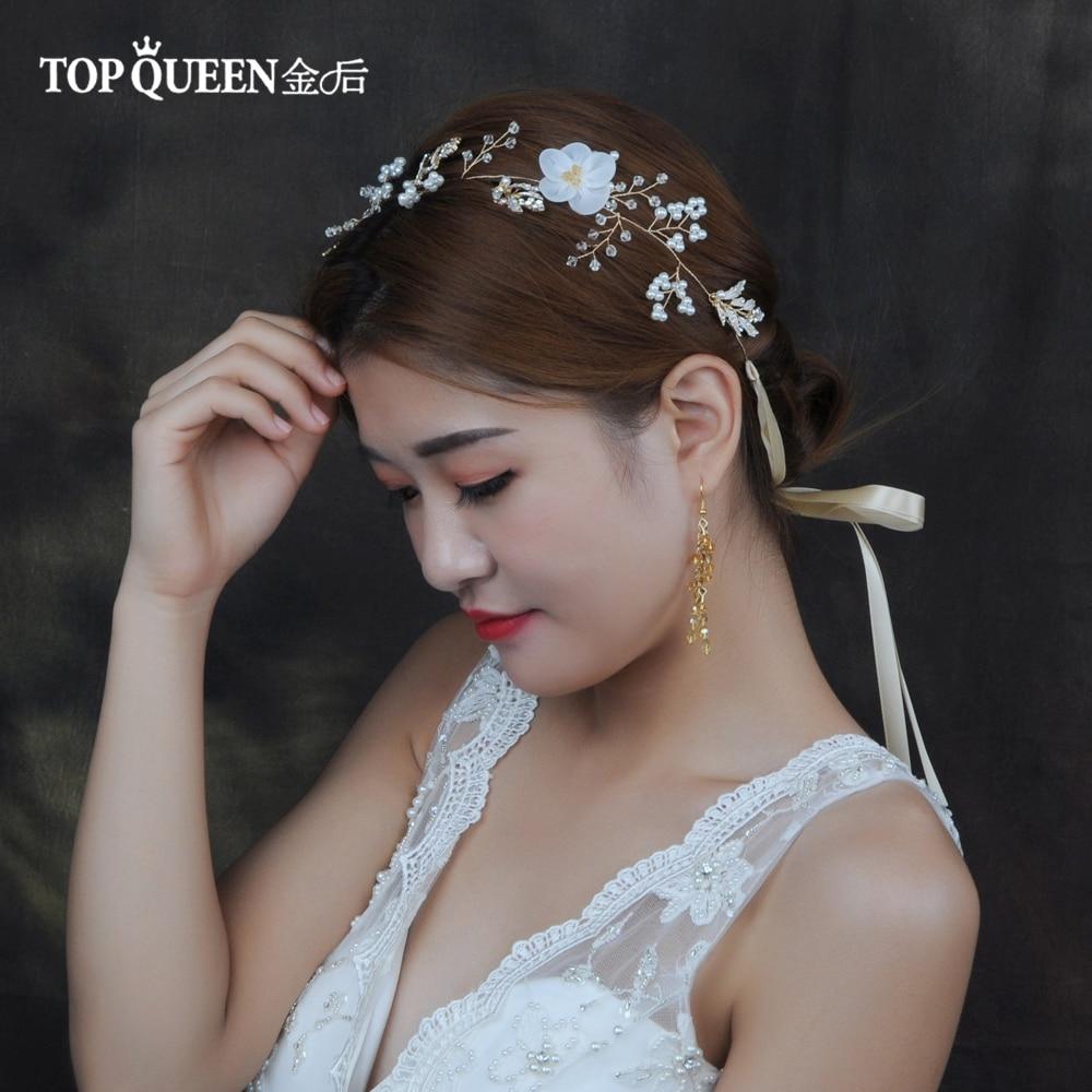 TOPQUEEN HP72 Wedding Tiara Bridal Headband Beaded Cheap Bridal Headband With Flower Wedding Hair Accessories Bridal Headwear