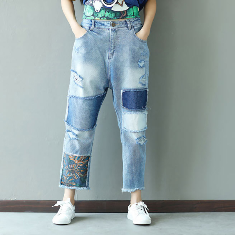 Elástica 2018 Vintage Tamaño Casual N033 Pantalones Un Agujeros Mujer Denim Cruzada Suelta Patchwork Ripped Vaqueros Azul Cintura AAwnPfr6x