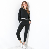 New Autumn Winter Yoga Sets For Women Pleuche Patchwork Sports Suit Gym Leggings Sweatshirts Tops Elastic