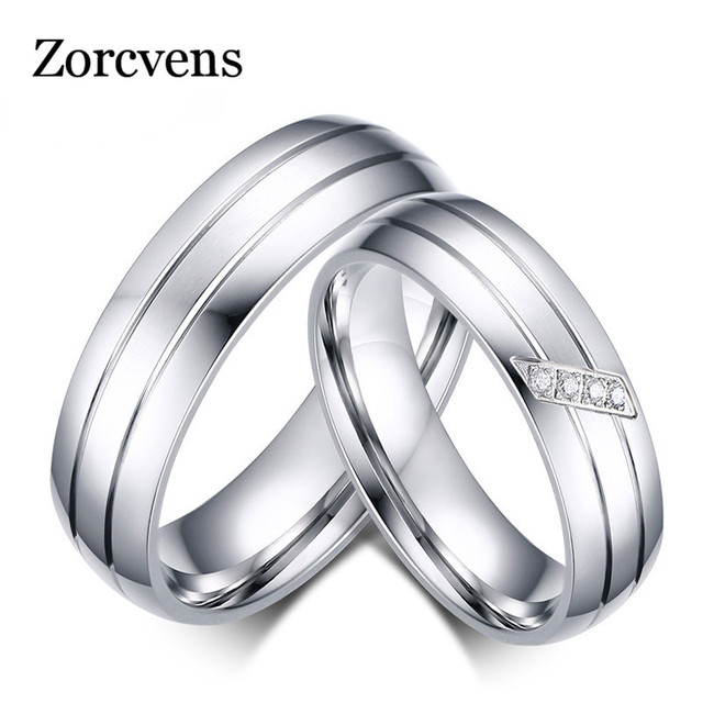ZORCVENS New Fashion Wedding Rings Stainless Steel Ring Female Male