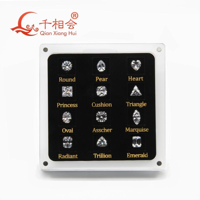 12 formes de zircon cubique lâche pierres précieuses affichage outils boîte diamant testeur maître ensemble-in Outils et équipements bijoux from Bijoux et Accessoires    1