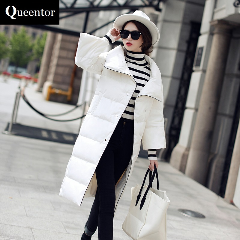 QUEENTOR Original 2017 Brand White Duck Down Coat Winter Elegant Casual Long Coats Women Wholesale 100% white duck down women coat fashion solid hooded fox fur detachable collar winter coats elegant long down coats