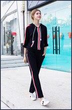 Fashion women's pantsuits comfort leisure suit 2018 autumn hooded sweatshirts+side stripe pants two piece set D199